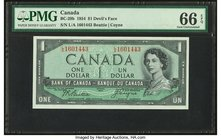 "Canada Bank of Canada $1 1954 BC-29b ""Devil's Face"" PMG Gem Uncirculated 66 EPQ.   HID09801242017"