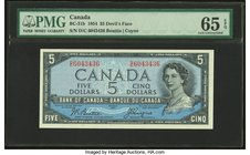"Canada Bank of Canada $5 1954 BC-31b ""Devil's Face"" PMG Gem Uncirculated 65 EPQ.   HID09801242017"