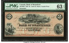 Canada Sault St. Marie, CW- Bank of Brantford $2 1.11.1859 Ch.# 40-12-04R Remainder PMG Choice Uncirculated 63 EPQ.   HID09801242017