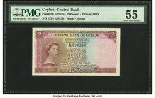 Ceylon Central Bank of Ceylon 2 Rupees 16.10.1954 Pick 50 PMG About Uncirculated 55.   HID09801242017