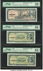 Cuba Banco Nacional de Cuba 10; 5; 5 Pesos 1960; 1958; 1960 Pick 88c*; 91a*; 91c* Three Replacement Examples PMG Choice About Unc 58 EPQ (2); Choice u...