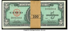 Cuba Banco Nacional de Cuba 5 Pesos 1960 Pick 92a Pack of 100 Crisp Uncirculated.   HID09801242017