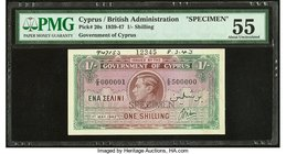 Cyprus Government of Cyprus 1 Shilling 1.5.1942 Pick 20s Specimen PMG About Uncirculated 55. Printer's annotations; previously mounted.  HID0980124201...