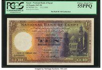 Egypt National Bank of Egypt 10 Pounds 13.2.1950 Pick 23c PCGS Choice About New 55PPQ.   HID09801242017