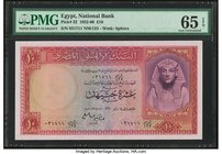 Egypt National Bank of Egypt 10 Pounds 1952-60 Pick 32 PMG Gem Uncirculated 65 EPQ.   HID09801242017