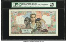 France Banque de France 5000 Francs 15.2.1945 Pick 103c PMG Very Fine 25 Net. Repaired.  HID09801242017