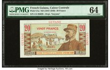 French Guiana Caisse Centrale de la France d'Outre-Mer 20 Francs ND (1947-1949) Pick 21a PMG Choice Uncirculated 64.   HID09801242017