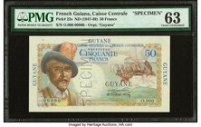 French Guiana Caisse Centrale de la France d'Outre-Mer 50 Francs ND (1947-49) Pick 22s Specimen PMG Choice Uncirculated 63. Roulette Specimen; staple ...