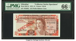 Gibraltar Government of Gibraltar 1 Pound 20.11.1975 Pick 20CS1 Collector Series Specimen PMG Gem Uncirculated 66 EPQ.   HID09801242017