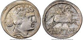 SPAIN. Sekobirikes (Segobriga). Ca. 2nd-1st centuries BC. AR denarius (20mm, 12h). NGC VF. Bare male head right, wearing necklace; crescent to left, S...