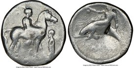 CALABRIA. Tarentum. Ca. 380-340 BC. AR stater or didrachm (22mm, 3h). NGC VG, punch mark. He-, magistrate. Nude youth on horseback standing right; pel...