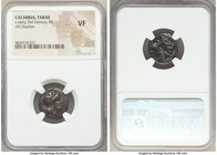 CALABRIA. Tarentum. Ca. early 3rd century BC. AR drachm (18mm, 4h). NGC VF. Ca. 302-280 BC, Ior- magistrate. Head of Athena right, wearing crested Att...