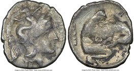 CALABRIA. Tarentum. Ca. 4th century BC. AR diobol (12mm, 11h). NGC Choice Fine, scratches. Ca. 325-280 BC. Head of Athena right, wearing crested Attic...