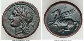 SICILY. Syracuse. Agathocles (310-305 BC). AE litra (19mm, 5.40 gm, 2h). Choice VF. Laureate head of Apollo left; Campanian helmet to right / ΣYPAKOΣI...