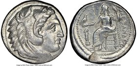 MACEDONIAN KINGDOM. Alexander III the Great (336-323 BC). AR tetradrachm (27mm, 12h). NGC Choice VF, graffito, possibly overstruck. Lifetime issue of ...