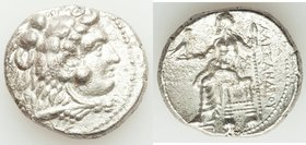 MACEDONIAN KINGDOM. Alexander III the Great (336-323 BC). AR tetradrachm (26mm, 16.70 gm, 3h). XF, horn silver. Posthumous issue of Ake or Tyre, dated...