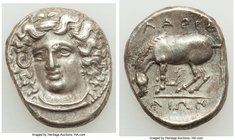 THESSALY. Larissa. Ca. 4th century BC. AR drachm (20mm, 5.92 gm, 1h). VF. Ca. 344-337 BC. Head of nymph Larissa facing, turned slightly left, hair in ...