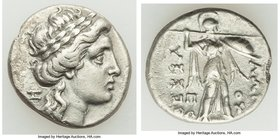 THESSALY. Thessalian League. 2nd-1st centuries BC. AR drachm (17mm, 4.00 gm, 10h). VF. Zo- and Poly-, magistrates. Laureate head of Apollo right; ΞΩ m...