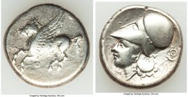 ACARNANIA. Thyrrheium. Ca. 4th-3rd centuries BC. AR stater (21mm, 8.16 gm, 1h). Fine, brushed. Pegasus flying left; Θ below / Head of Athenian left, w...