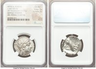 ATTICA. Athens. Ca. 440-404 BC. AR tetradrachm (25mm, 17.23 gm, 10h). NGC Choice AU 5/5 - 2/5. Mid-mass coinage issue. Head of Athena right, wearing c...