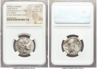 ATTICA. Athens. Ca. 440-404 BC. AR tetradrachm (24mm, 17.17 gm, 11h). NGC AU S 5/5 - 5/5. Mid-mass coinage issue. Head of Athena right, wearing creste...