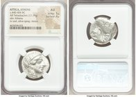 ATTICA. Athens. Ca. 440-404 BC. AR tetradrachm (25mm, 17.19 gm, 3h). NGC AU 5/5 - 4/5. Mid-mass coinage issue. Head of Athena right, wearing crested A...