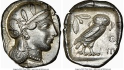ATTICA. Athens. Ca. 440-404 BC. AR tetradrachm (26mm, 17.20 gm, 12h). NGC AU 5/5 - 4/5. Mid-mass coinage issue. Head of Athena right, wearing crested ...