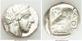 ATTICA. Athens. Ca. 440-404 BC. AR tetradrachm (24mm, 17.14 gm, 7h). VF, test cut. Mid-mass coinage issue. Head of Athena right, wearing crested Attic...