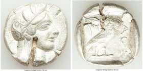 ATTICA. Athens. Ca. 440-404 BC. AR tetradrachm (27mm, 17.12 gm, 6h). VF, test cut. Mid-mass coinage issue. Head of Athena right, wearing crested Attic...