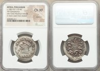 MYSIA. Pergamum. Ca. 180/167-133 BC. AR cistophorus (30mm, 12h). NGC Choice XF, brushed. Ca. 166-160 BC. Serpent emerging from cista mystica; all with...