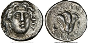 CARIAN ISLANDS. Rhodes. Ca. 275-250 BC. AR drachm (15mm, 12h). NGC Choice VF. Erasicles, magistrate. Head of Helios facing, turned slightly right / EP...