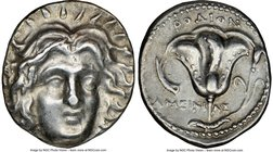 CARIAN ISLANDS. Rhodes. Ca. 250-205 BC. AR didrachm (21mm, 12h). NGC XF. Ca. 225-205 BC, Ameinias, magistrate. Radiate facing head of Helios, turned s...