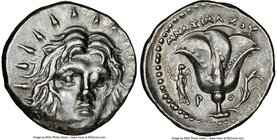 CARIAN ISLANDS. Rhodes. Ca. 250-205 BC. AR didrachm (21mm, 12h). NGC XF. Ca. 250-230 BC, Mnasimaxus, magistrate. Radiate facing head of Helios, turned...