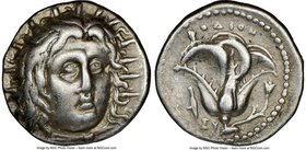 CARIAN ISLANDS. Rhodes. Ca. 250-205 BC. AR didrachm (19mm, 12h). NGC Choice VF. Ca. 250 BC. Radiate head of Helios facing, turned slightly right, hair...