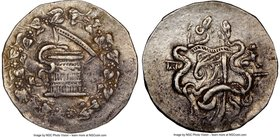 PHRYGIA. Apameia. Ca. 166-133 BC. AR cistophorus (30mm, 11h). NGC XF, brushed. Ca. 160-150 BC. Serpent arising from cista mystica; all within ivy wrea...