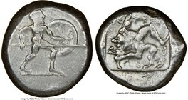 PAMPHYLIA. Aspendus. Ca. mid-5th century BC. AR stater (20mm, 8h). NGC VF. Helmeted nude hoplite warrior advancing right, shield in left hand, spear f...