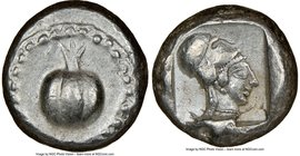 PAMPHYLIA. Side. Ca. 5th century BC. AR stater (19mm, 10.92 gm, 3h). NGC Choice XF 5/5 - 4/5. Ca. 430-400 BC. Pomegranate, guilloche beaded border / H...
