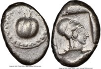 PAMPHYLIA. Side. Ca. 5th century BC. AR stater (23mm, 10.84 gm, 6h). NGC Choice VF 4/5 - 4/5. Ca. 430-400 BC. Pomegranate, guilloche beaded border / H...