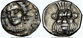 CILICIA. Uncertain mint. Ca. 4th century BC. AR obol (9mm, 6h). NGC Choice VF. Female head (Arethusa?) facing, turned slightly left, wearing pearl nec...