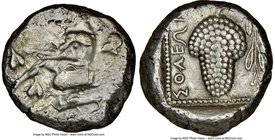 CILICIA. Soloi. Ca. 440-400 BC. AR stater (20mm, 1h). NGC VF. Amazon, nude to waist, on one knee left, wearing pointed cap, bowcase attached to belt, ...