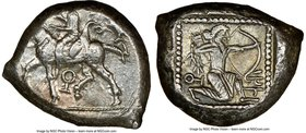CILICIA. Tarsus. Ca. late 5th century BC. AR stater (21mm, 10.80 gm, 5h). NGC Choice XF 3/5 - 4/5. Ca. 420-410 BC. Satrap on horseback riding left, re...