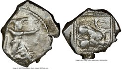 CYPRUS. Citium. Azbaal (ca. 449-425 BC). AR stater (25mm, 3h). NGC Fine. Heracles in fighting stance right, nude but for lion skin around shoulders an...