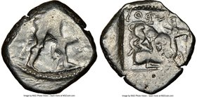 CYPRUS. Citium. Azbaal (ca. 449-425 BC). AR stater (22mm, 6h). NGC Fine. Heracles in fighting stance right, nude but for lion skin around shoulders an...