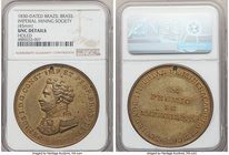 "Pedro I brass ""Imperial Mining Society"" Medal 1830 UNC Details (Holed) NGC, VC-25, Meili-73. 45mm. Awarded by the Imperial Brazilian Mining Associatio..."