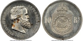 Pedro II copper-nickel Pattern 10 Reis 1869 MS65 NGC, Bentes-E49.15. Mislabeled on the holder as Bentes-E50.15. We note that this lot has a mechanical...