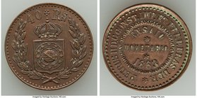 Pedro II copper Pattern 40 Reis 1863 UNC (Residue, Cleaned), Bentes-E45.03. 25mm. 6.29gm. From the Dresden Collection of Hispanic and Brazilian Procla...