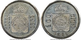 Pedro II silver Pattern 100 Reis 1865 MS61 NGC, Bentes-E40.02var. (listed in copper). Mislabeled on the holder as a Bentes-E41var. We note that this l...