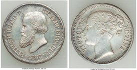 Pedro II Mule 100 Reis 1888 Prooflike (Surface Hairlines), Muled Queen Victoria Bust Reverse. 22mm. 3.75gm. Gray tones throughout with a mirror finish...