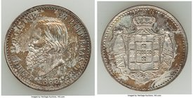 Pedro II silver Non-Denominated Pattern 1888 UNC (Surface Hairlines), 22mm. 6.29gm. Strong strike with orange iridescent toning. From the Dresden Coll...