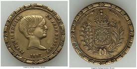 Pedro II brass Medal 1837 AU (Cleaned), Fonrobert-8663. 33mm. 14.27gm. From the Dresden Collection of Hispanic and Brazilian Proclamation Medals  HID0...